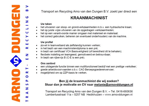 202103 Vacature Machinist